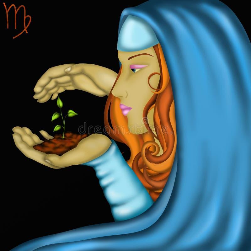 Sinais do zodíaco - Virgem ilustração do vetor