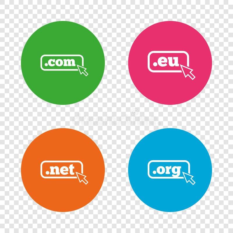 Sinais dos domínios níveis mais alto COM, Eu, rede e Org ilustração royalty free