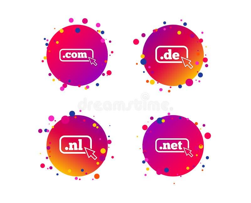 Sinais dos domínios níveis mais alto De, COM, rede e NL Vetor ilustração royalty free
