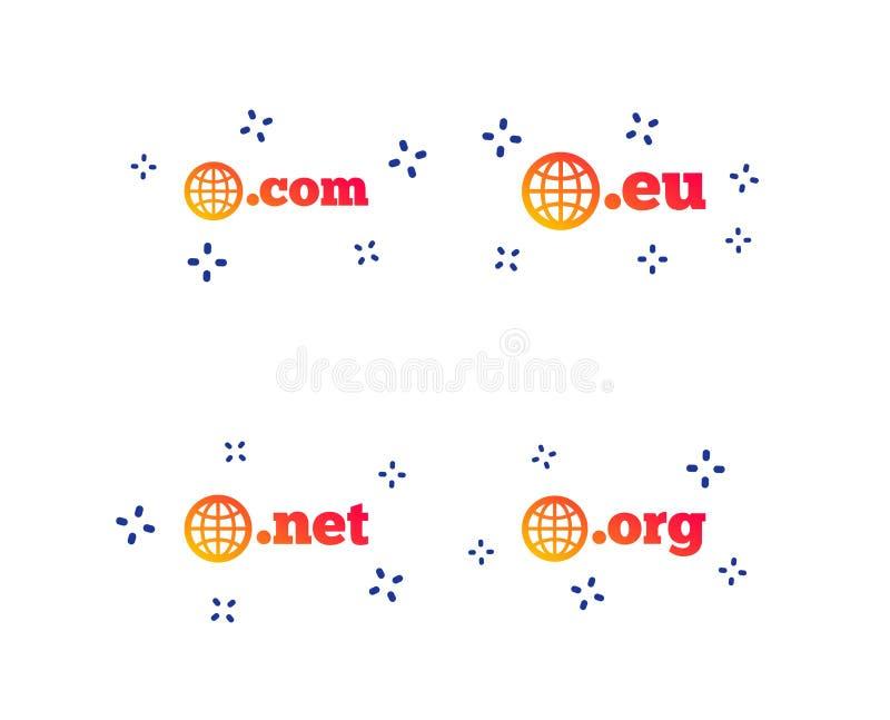 Sinais dos dom?nios n?veis mais alto COM, Eu, rede e Org Vetor ilustração royalty free