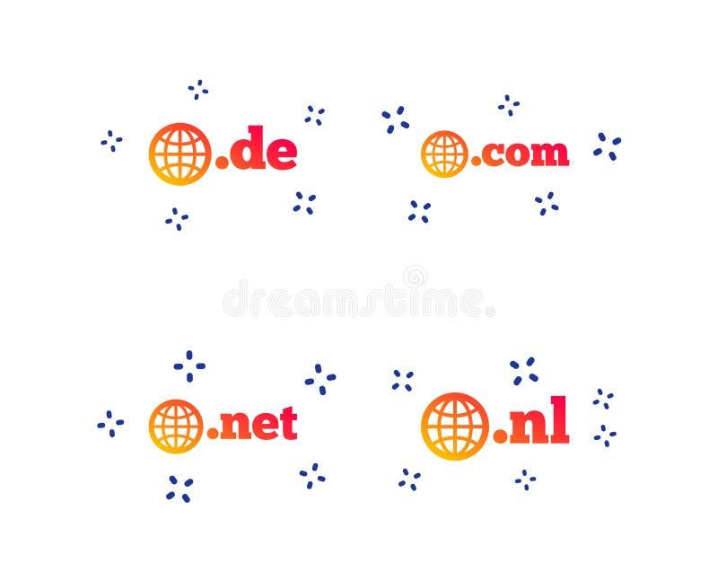 Sinais dos dom?nios n?veis mais alto De, COM, rede e NL Vetor ilustração stock