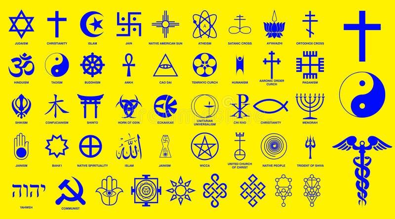 Sinais dos símbolos da religião do mundo de grupos religiosos principais e de outras religiões isolados ilustração royalty free