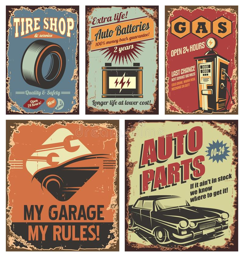 Sinais e cartazes da lata do serviço do carro do vintage no fundo oxidado velho