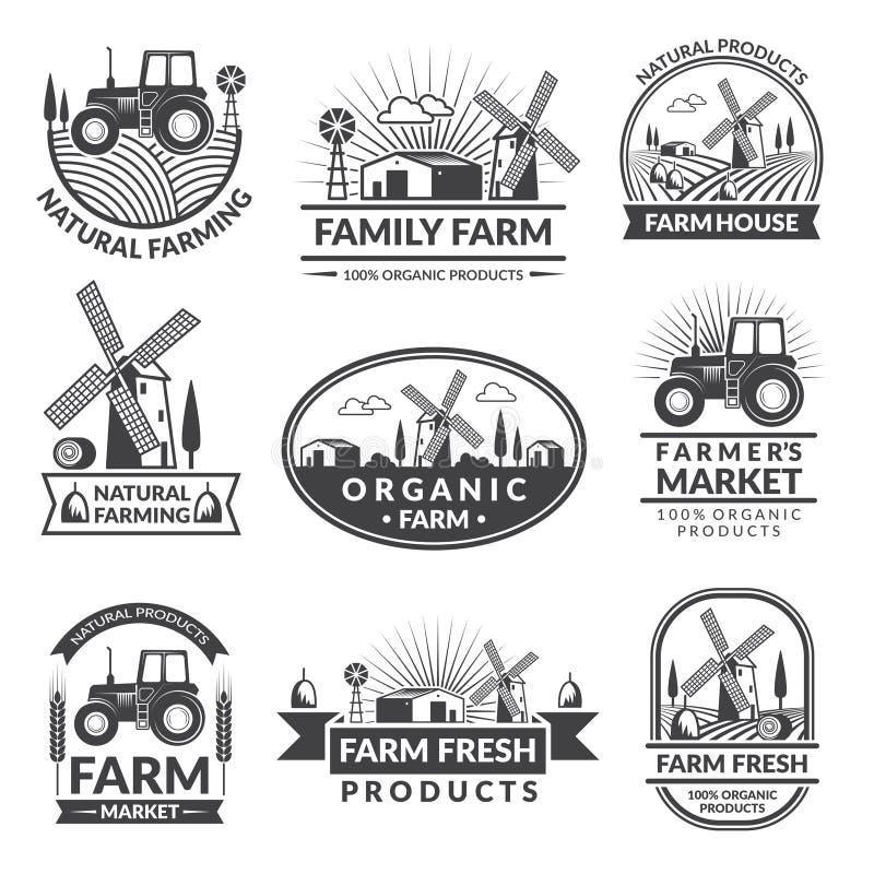 Sinais e etiquetas para o mercado da exploração agrícola Grupo de etiquetas monocromático com lugar para seu texto ilustração do vetor