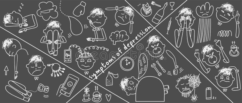 Sinais e sintomas da depressão Ilustração do vetor dos problemas da saúde mental foto de stock