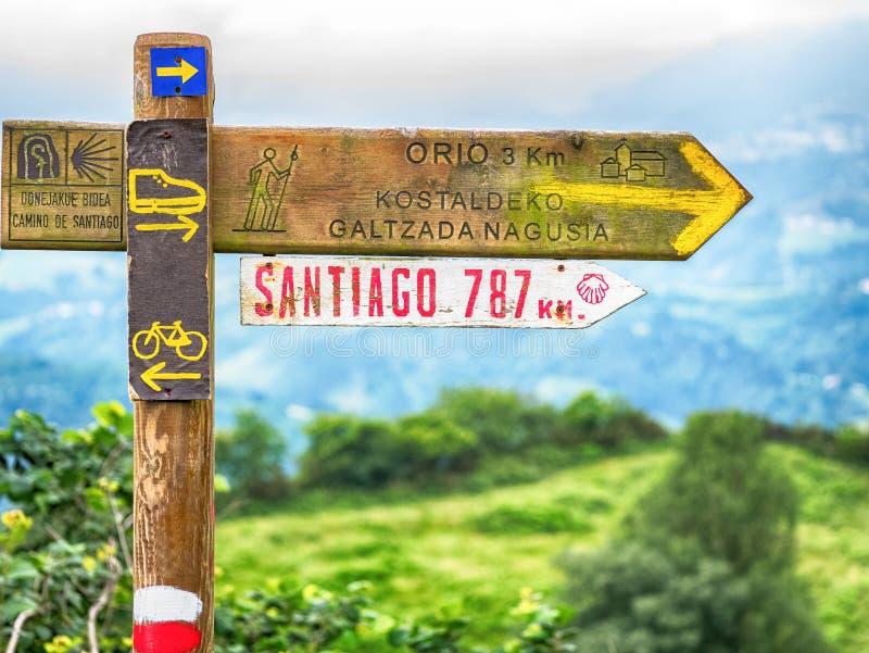 Sinais em Camino de Santiago fotos de stock
