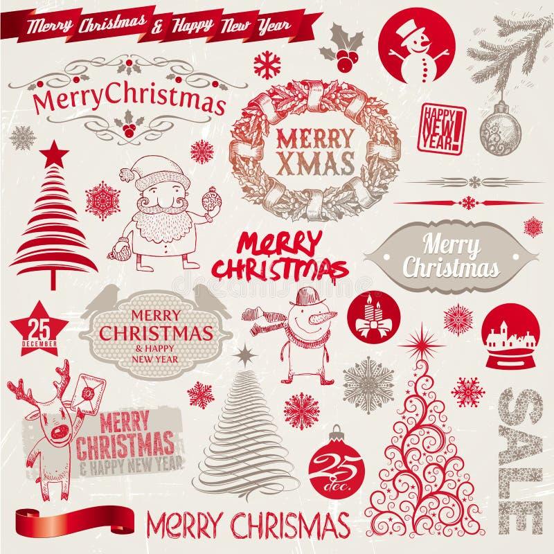 Sinais, emblemas e elementos do Natal ilustração royalty free