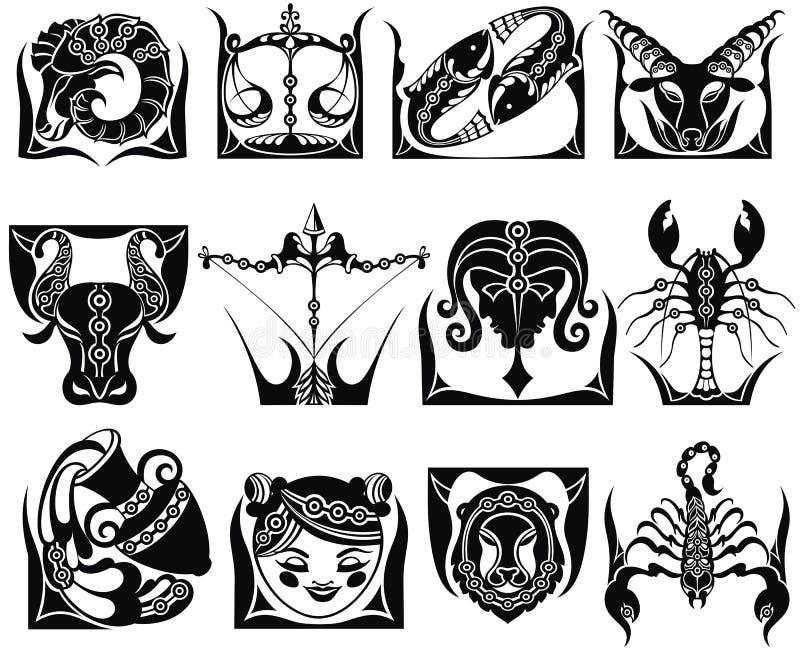 Sinais gráficos do zodíaco ilustração do vetor