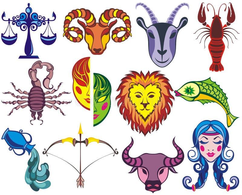 Sinais gráficos do zodíaco engraçado ilustração royalty free