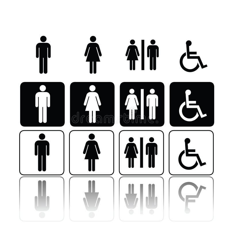 Sinais, homem e mulher do toalete ilustração royalty free