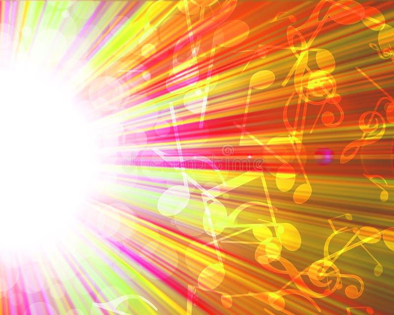 Sinais musicais em um fundo colorido ilustração do vetor