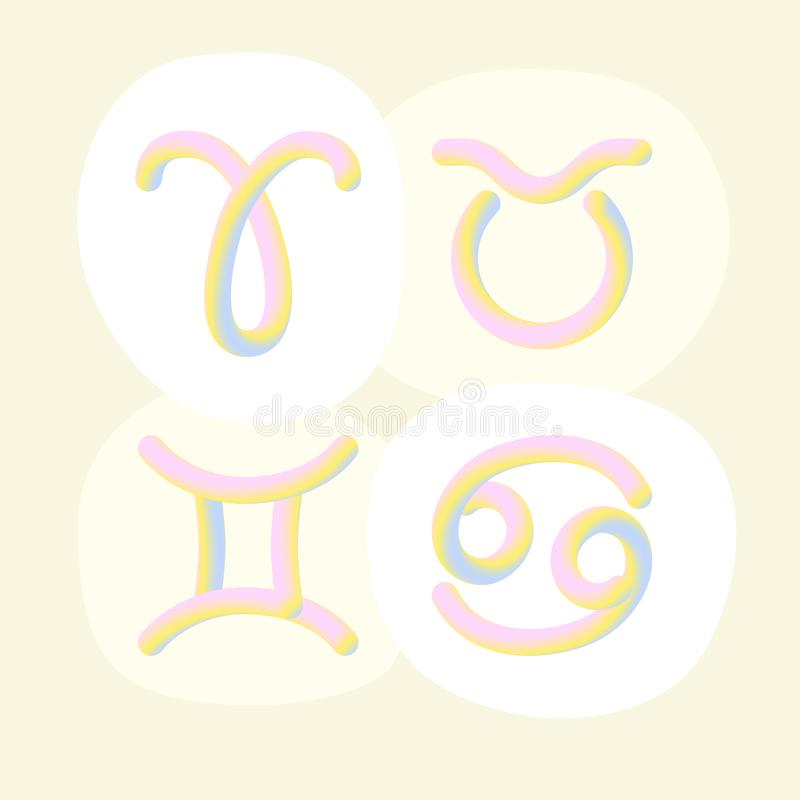 sinais na moda do horóscopo do inclinação 3d ilustração do vetor