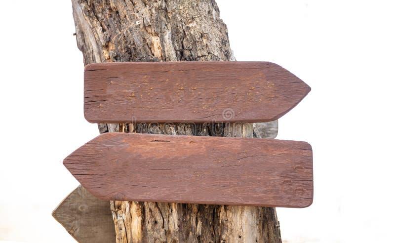 Sinais opostos da seta dos sentidos Dois ponteiros de madeira vazios em um tronco de árvore, espaço da cópia fotos de stock