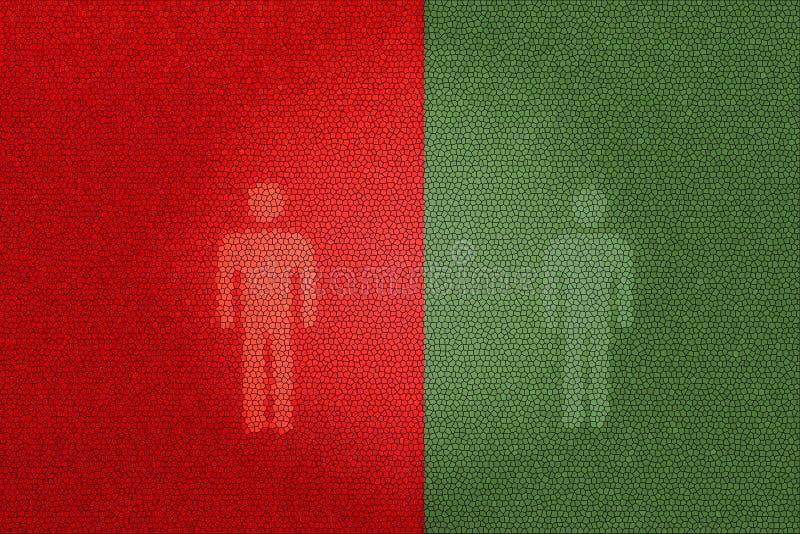 Sinais pedestres vermelhos e verdes (que usam o toalete) imagem de stock royalty free