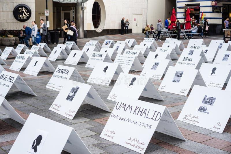 Sinais que protestam o conflito de Palestina Israel fotos de stock