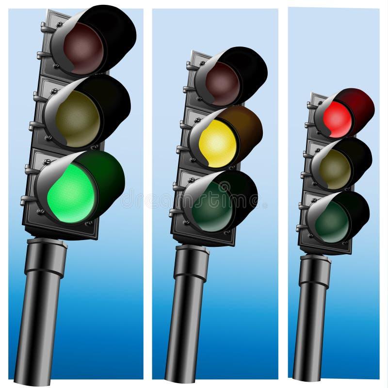 Sinais realísticos do semáforo. ilustração royalty free