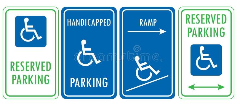 Sinais reservados deficientes do estacionamento ilustração stock
