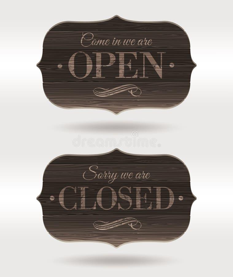 Sinais retros de madeira fechados e abertos ilustração royalty free