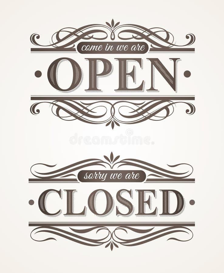 Sinais retros ornamentado fechados e abertos ilustração stock