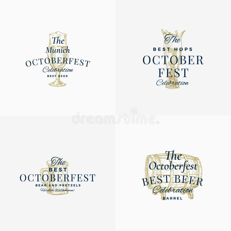 Sinais, símbolos ou Logo Templates Set do vetor do sumário do festival da cerveja de Octoberfest Tambor, caneca e vidro tirados m ilustração do vetor