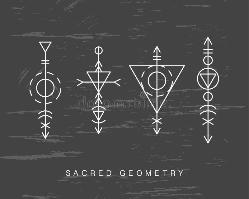 Sinais sagrados da geometria ajustados ilustração stock