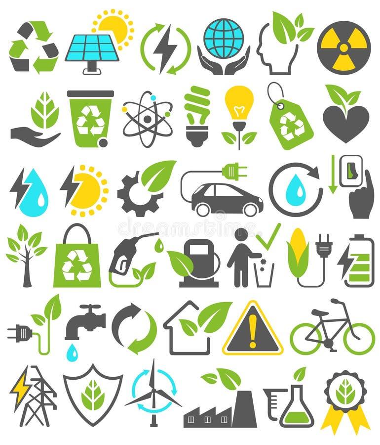 Sinais verdes amigáveis dos ícones das fontes de energia de Eco os bio ajustados isolaram o ilustração do vetor