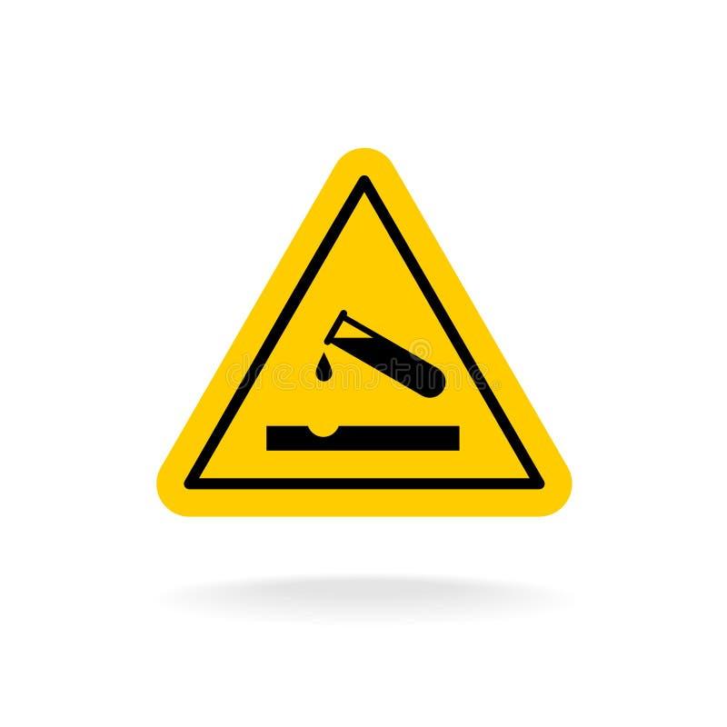 Sinal ácido de advertência Etiqueta amarela da química do triângulo ilustração do vetor