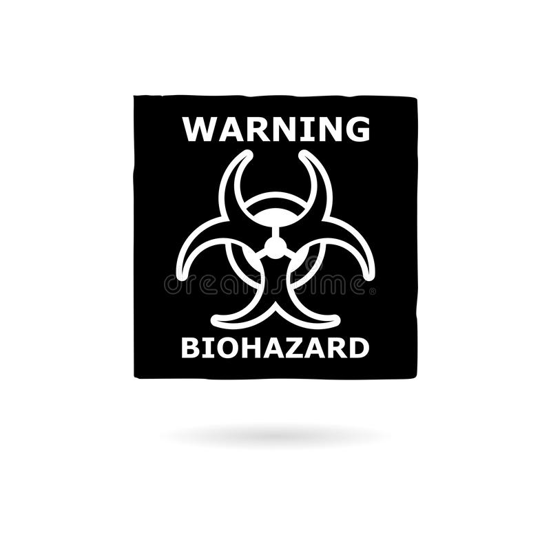 Sinal, ícone ou logotipo de advertência preto do Biohazard ilustração stock