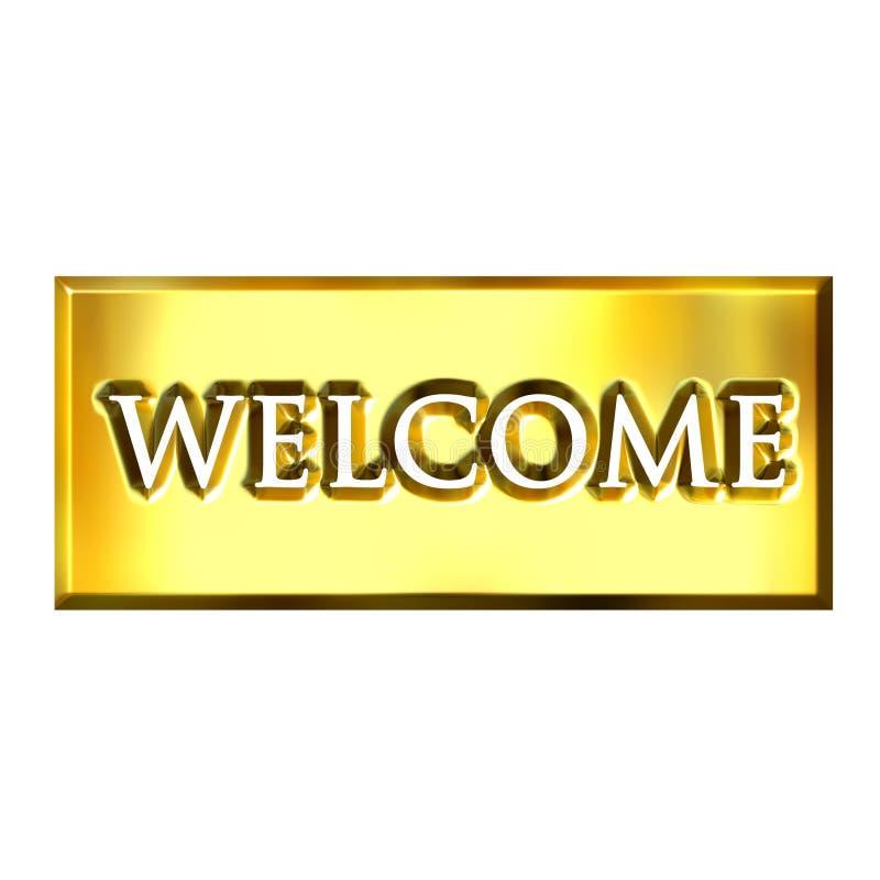sinal 3D bem-vindo dourado ilustração do vetor
