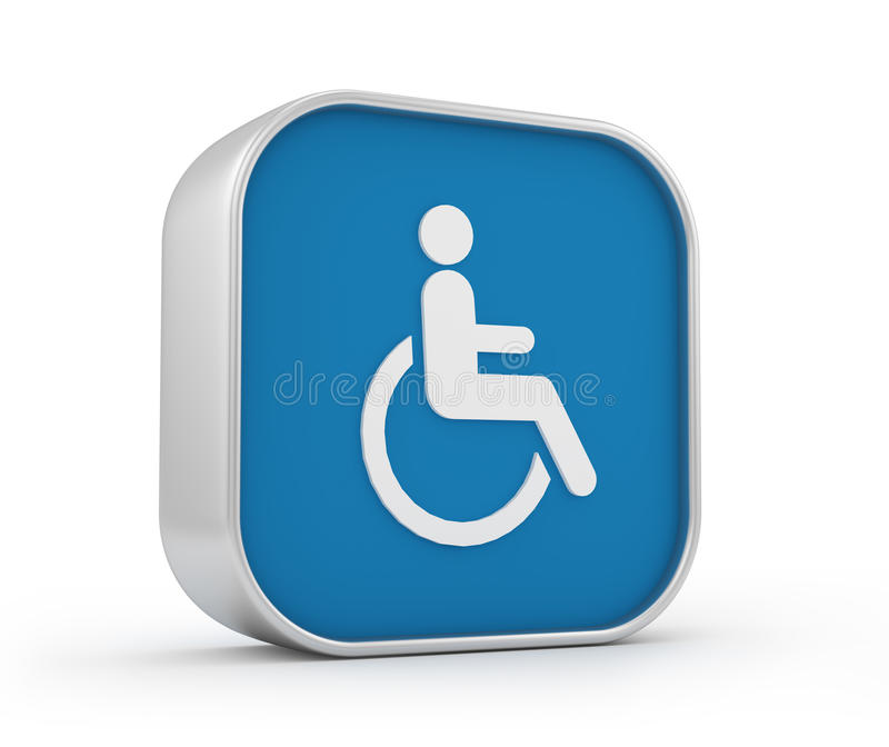 Sinal 3d da cadeira de rodas ilustração royalty free