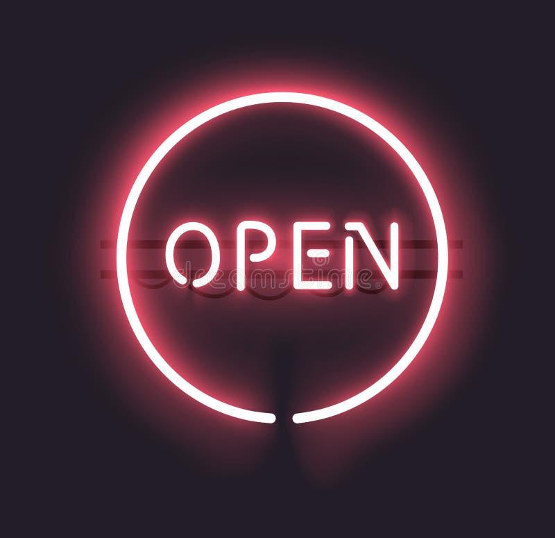 Sinal aberto do néon ilustração do vetor