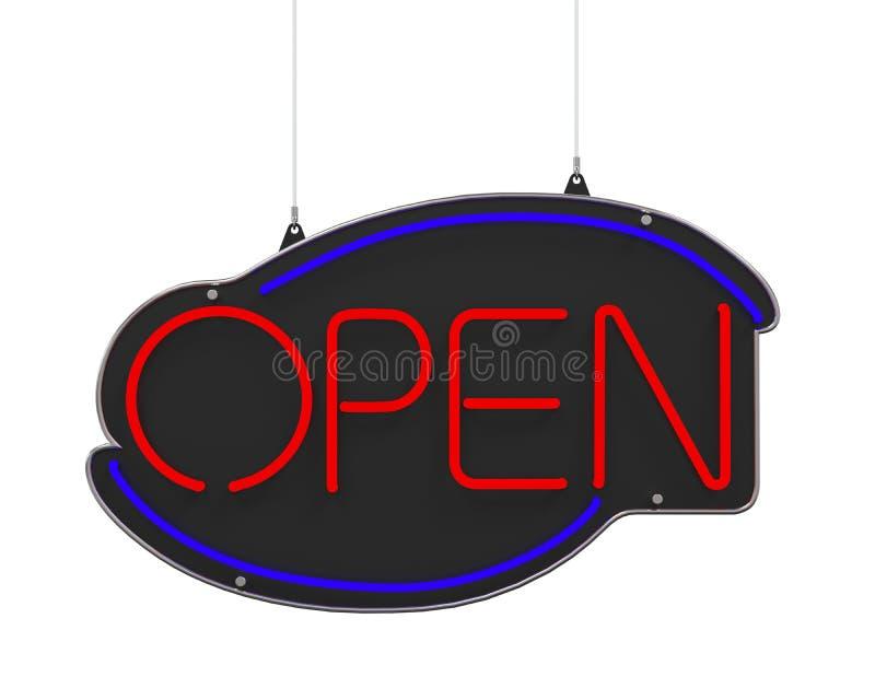 Sinal aberto do néon ilustração royalty free
