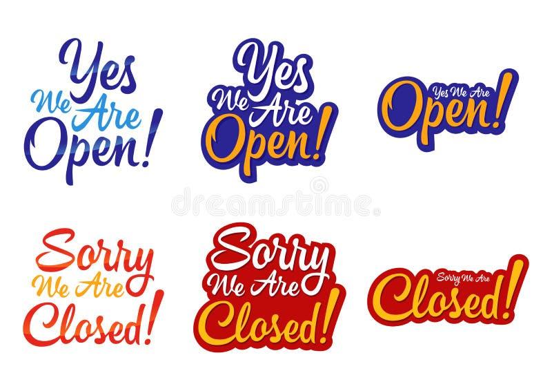 Sinal aberto e fechado da loja ilustração do vetor