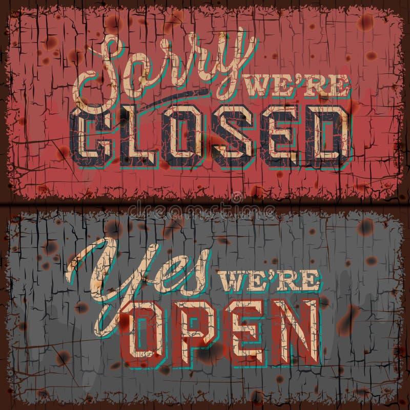 Sinal aberto e fechado - loja da informação ilustração royalty free