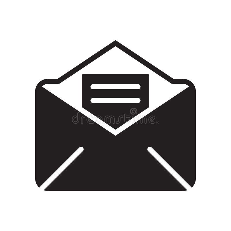 Sinal aberto e símbolo do vetor do ícone do correio isolados no fundo branco, conceito aberto do logotipo do correio ilustração stock