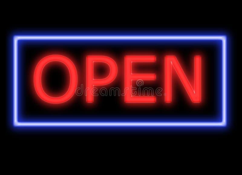Sinal aberto res alto do néon no preto ilustração do vetor