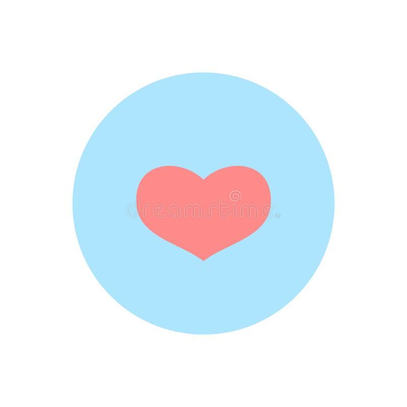Sinal abstrato cor-de-rosa do coração do ` s do Valentim, molde vazio do botão e fundo azul para páginas de Internet, ui das inte ilustração royalty free