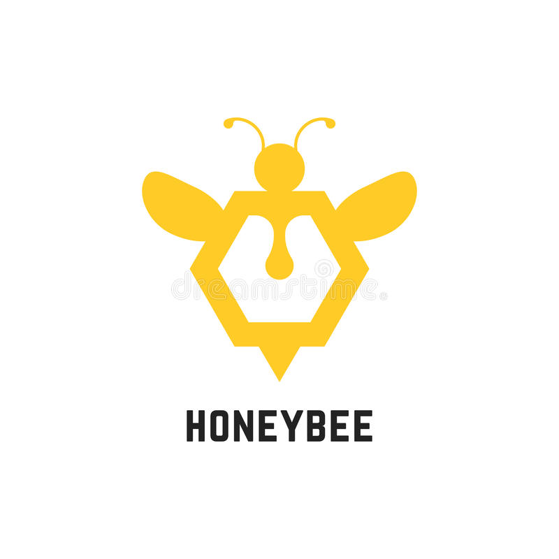 Sinal abstrato da abelha do mel ilustração do vetor