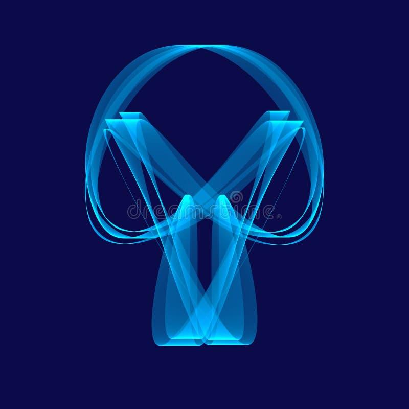 Sinal abstrato do azul do crânio Luz - linhas azuis na obscuridade - fundo azul Fundo azul abstrato Teste padrão geométrico em co ilustração stock
