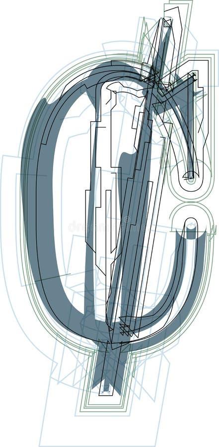 Sinal abstrato do centavo ilustração stock