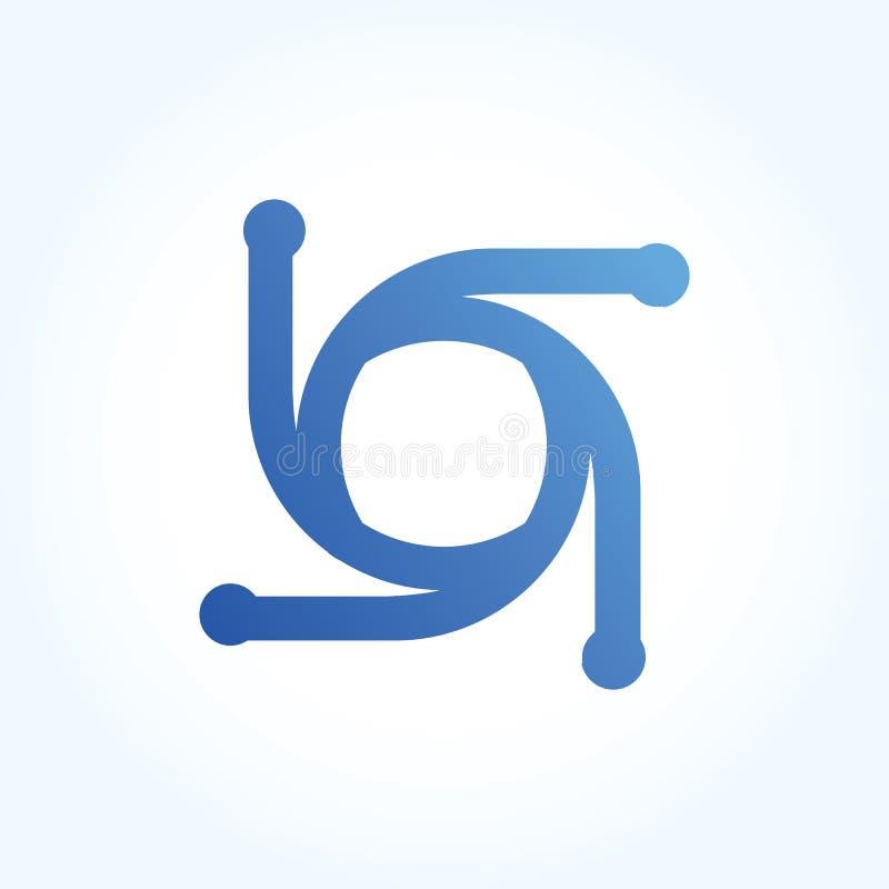 Sinal abstrato do logotipo do círculo da letra projeto material, linha estilo - vetor ilustração stock