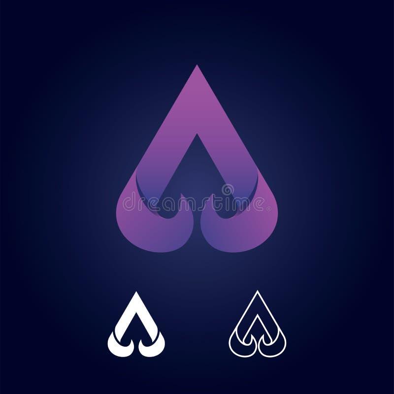 Sinal abstrato do logotipo da letra A Projeto material de papel, plano e linha estilo - vetor - vetor ilustração stock