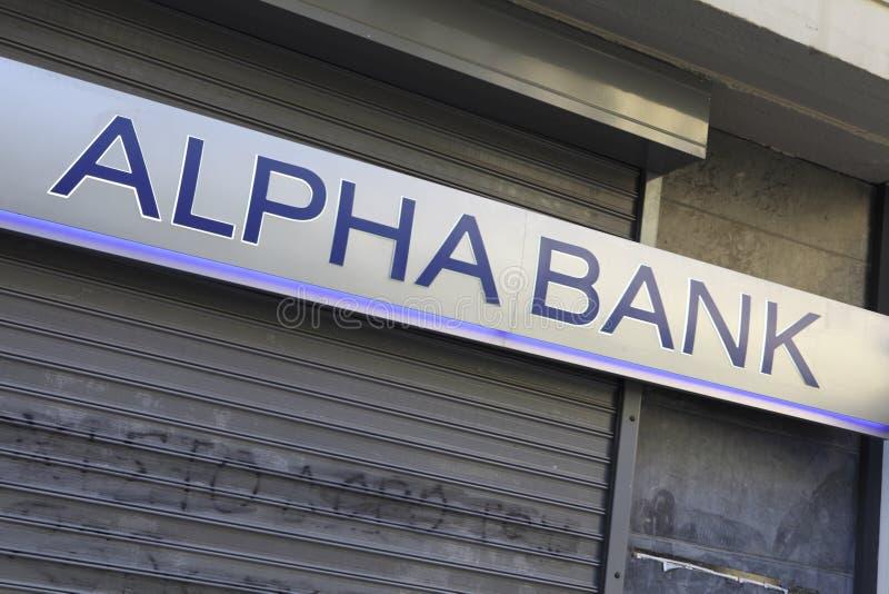 Sinal alfa da dependência bancária imagem de stock