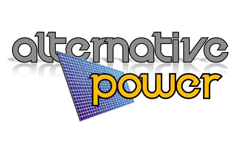 Sinal alternativo da potência e painel solar ilustração do vetor