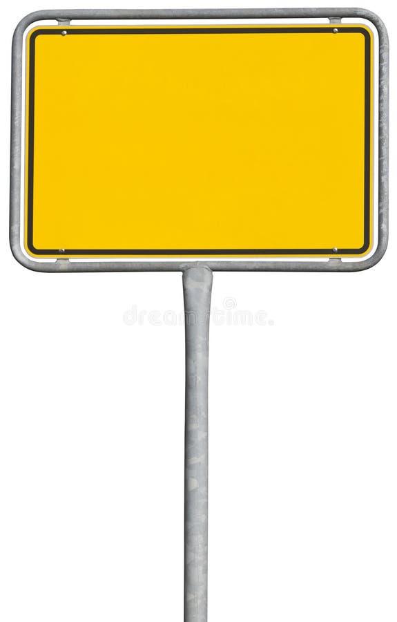 Sinal amarelo da colocação (trajeto de grampeamento incluído) fotografia de stock