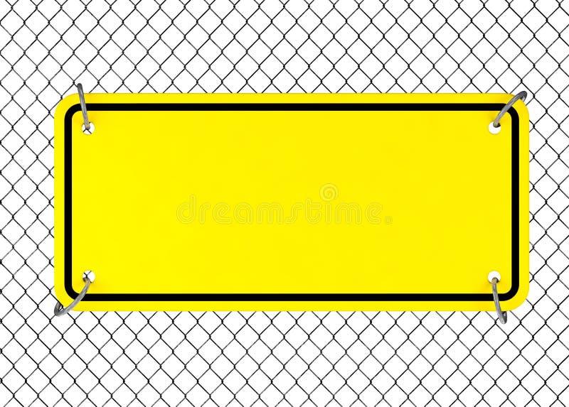Sinal amarelo da placa com espaço vazio para o projeto de Yourth em uma cerca de fio rendição 3d ilustração do vetor