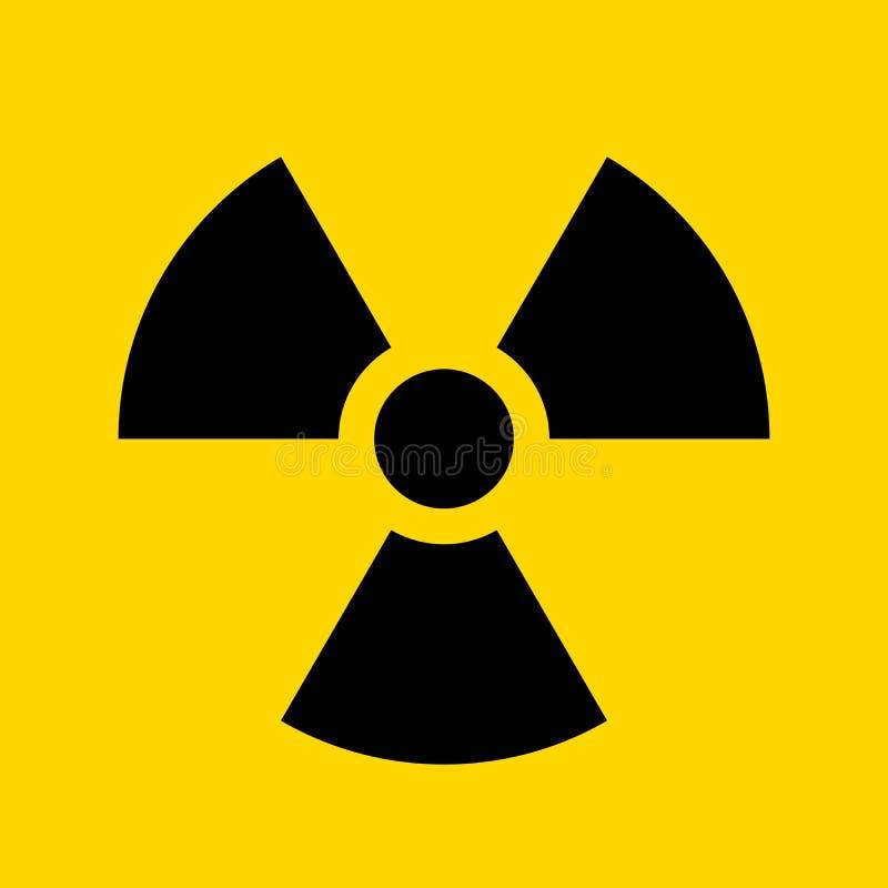 Sinal amarelo de advert?ncia radioativo do c?rculo S?mbolo de advert?ncia do vetor da radioatividade ilustração do vetor