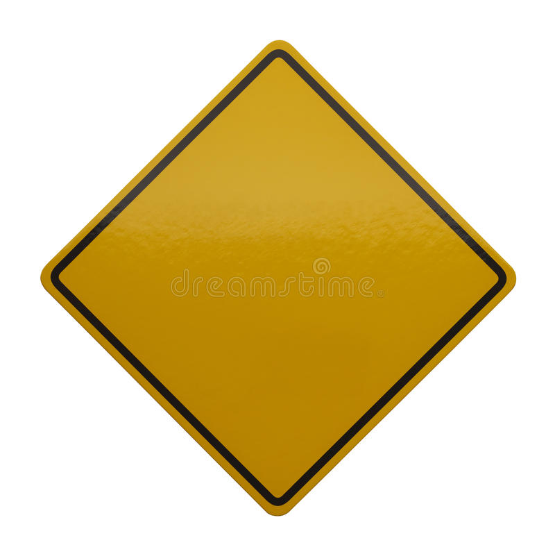 Sinal amarelo do cuidado imagens de stock