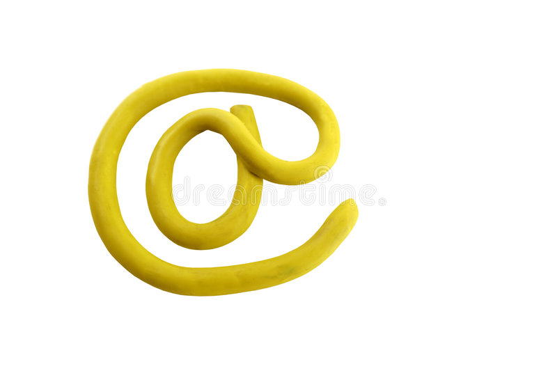 Sinal amarelo do email do arroba do plasticine foto de stock royalty free