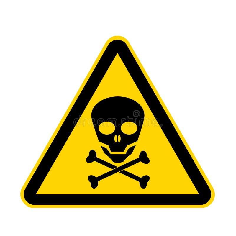 Sinal amarelo do perigo do crânio isolado em branco com trajeto de grampeamento ilustração do vetor